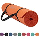 Gaiam Essentials Thick Yoga Mat Fitness & Exercise Mat with Easy-Cinch Yoga Mat Carrier Strap, Orange, 72 InchL x 24 InchW x