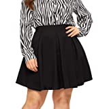 SheIn Women's Plus Size Basic Plain Flared Skater Casual Mini Short Skirt
