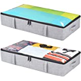 Underbed Storage Containers, Storage Bin for Clothes, Blankets, Shoes and Wrapping Paper, 2-Pack - 33x17x6in Grey