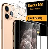 [4 Pack] UniqueMe 2 Pack Tempered Glass Screen Protector +2 Pack Tempered Glass Camera Lens Protector for Apple iPhone 11 Pro