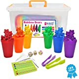 W.A.S.FIT Counting Bears Sorting Cups Set: with Color Coordinating Bears Manipulatives Color Bears for Sorting 124 Total Piec