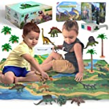 3D Dinosaur Toys Playset - 3D Dinosaur Book and Double-Sided XL Activity Play Mat with Realistic Dinosaur Figures and Trees I