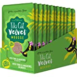 Tiki Cat Velvet Mousse Grain-Free Wet Food with a Silky-Smooth Texture for Adult Cats & Kittens, 2.8oz, 12pk, Tuna & Mackerel