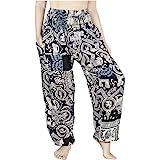 Lofbaz Women's Smocked Waist Floral Rayon Yoga Boho Patch Harem Pants