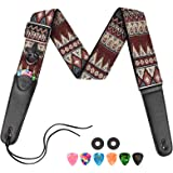 LEKATO Guitar Strap Jacquard Weave Embroidered Guitar Strap with Leather Ends for Acoustic and Electric Guitars Adjustable Wo