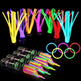 "400 Glow Sticks Bulk Party Supplies - Glow in The Dark Fun Party Pack with 8"" Glowsticks and Connectors for Bracelets and Nec"