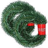 Lvydec 36 Feet Christmas Garland, 2 Strands Artificial Pine Garland Soft Greenery Garland for Holiday Wedding Party Decoratio