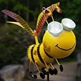 Solar Garden Stake Lights - Bee with Solar Light Eyes and Rotating Wings - Outdoor Lawn Decor Garden Decoration, Yard Art Déc