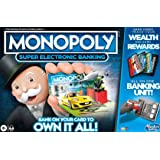 Monopoly Ultimate Rewards Board Game, Electronic Banking Unit with Cashless Gameplay Tap Technology, 2 to 4 Players, Family,