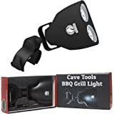 Cave Tools Barbecue Grill Light - Luxurious Gift Box - Upgraded Handle Mount Fits Round & Square Bars on Any BBQ Pit - 10 LED