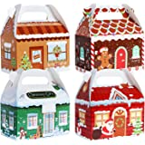 TOMNK 28 Pack Christmas Treat Boxes 3D Xmas House Cardboard Gable Gift Boxes for Candy, Holiday Party Favor Supplies, Craftin