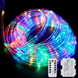Ollivage LED Rope Lights Outdoor String Light with 120 LEDs, 8 Color Changing Waterproof LED Strip Light Battery Powered Fair