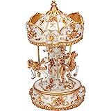 Elanze Designs Gilded Gold Tone Horses Musical Carousel 10 inch Rotating Figurine Plays Tune Carousel Waltz