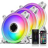 EZDIY-FAB White Moonlight 120mm RGB Case Fan with Fan Hub X and Remote,Motherboard Aura SYNC,Speed Control,Addressable Fan fo