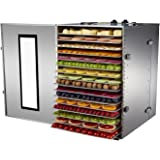 BioChef Premium 16 Tray Commercial Stainless Steel Food Dehydrator with Stainless Steel Trays & 15 Hour Timer