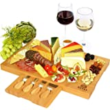 Unique Bamboo Cheese Board, Charcuterie Platter & Serving Tray Including 4 Stainless Steel Knife & Thick Wooden Server - Fanc