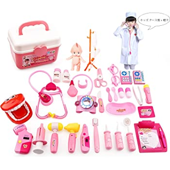 AOOMお医者さんごっこ お医者さんセット ミニドクター おもちゃ ケース付 プレゼント プレイングゲーム 知育 おもちゃ 社会性 言語力 想像力育ち ごっこ遊び31個セット (赤)