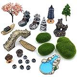 Trasfit Set of 23 Zen Garden Accessories, Mini Meditation Zen Tray Items Kit, Fairy Garden Accessories for Micro Landscape De