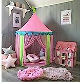 キッズテント 子供用テント 折り畳み式 女の子のおもちゃハウス ポータブル 簡単に組み立て 秘密基地 お誕生日・出産祝い・クリスマスのプレゼント Wilwolfer (ピンク)