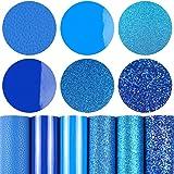 6 Pieces/Set 8x12 Inch (21cm x 30cm) A4 Bundle Leather Sheets Mixed Blue Series Sparkle Fine Chunky Glitter Patent Litchi Fau