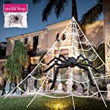"3pcs 200'' Halloween Spider Web 30"" Halloween Spider Decorations Stretch Cobweb Spider Giant Spider Web for Indoor Outdoor Ha"