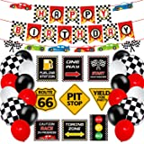 Race Car Birthday Party Decoration Set Race Car Party Signs Racing Birthday Banner Checkered Flags Balloons for Boys Let's go