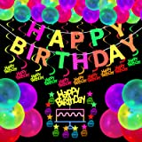 Glow Party Supplies Neon Party Supplies Set Includes Happy Birthday Glow Party Banner Happy Birthday Hanging Swirls Neon Fluo