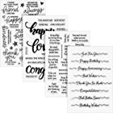 4 Sheets Words Clear Stamp Silicone Stamp Cards with Sentiments, Greeting Words Pattern for Holiday Card Making and DIY Scrap