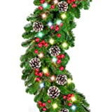 9 Foot by 10 Inch Christmas Garland - 50 LED Lights, Battery Operated Lighted Garland Wreath with Pine Cones Red Berries Lush