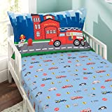 Everyday Kids Toddler Fitted Sheet and Pillowcase Set -Fire Police Rescue- Soft Microfiber, Breathable and Hypoallergenic Tod