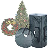 """Elf Stor 1018 Combo Gn Deluxe Green Christmas Storage 9 Foot Artificial Trees & 30"""" Inch Wreath Bag, 30 Inch ft"""