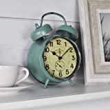 """FirsTime & Co. 25681 Teal Double Bell Alarm Tabletop Clock, 5"""" x 7"""", Aged"""