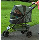 Pet Gear PG8250NZSG No-Zip Special Edition 3 Wheel Pet Stroller for Cats/Dogs, Zipperless Entry, Easy One-Hand Fold, Removabl