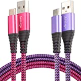 Aomago USB 2.0 Type C Cable, Fast Charging 2 Pack 6FT USB C to USB A Durable 3.1A Nylon Braided Charger Data Transfer Cord Co