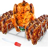 RUSFOL Stainless Steel Beercan Chicken Roaster and Rib Rack with a Silicone Oil Brush, Rectangle BBQ Stand for Smoker,Oven an