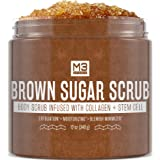 M3 Naturals Brown Sugar Body Scrub Infused with Collagen and Stem Cell - Exfoliating Body and Face Scrub for Acne Scars, Cell