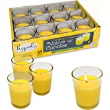 Hyoola Citronella Candle Votives in Glass Cup - Indoor and Outdoor Decorative and Mosquito, Insect and Bug Repellent Candle -