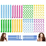 40PCS Hair Curlers Heatless Wave and Spiral Formers Two Styles(16inches) with 4PCS Styling Hooks Magic Hair Rollers No Heat D