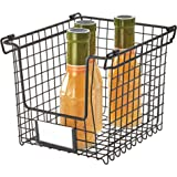 InterDesign Classico Stackable Storage Basket with Handles for Pantry, Kitchen, Bathroom, Countertop, and Desk Organization S