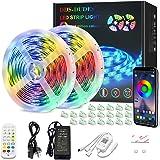 DDS-DUDES LED Strip Lights 15M Bluetooth RGB Music Sync Colour Changing Strip Lights Control by 24-Key Remote, Bluetooth App,