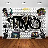 Avezano Hip Hop Theme 2nd Birthday Backdrop Two Legit to Quit Birthday Party Decoration Photography Background Graffiti Wall