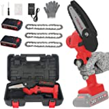 4 inch Mini Chain Saw with Baffle, 3 Chains, A Set of Tools & Storage BoxPortable, 24V Electric Chainsaw Household Small Hand
