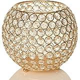 VINCIGANT Gold Candle Sleeve Holder/Modern Floor Vase for Fireplace Dinning Table Centerpieces Anniversary Celebration Home D