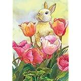 Toland Home Garden Bunny Tulip 28 x 40 Inch Decorative Spring Easter Cute Rabbit Flower House Flag