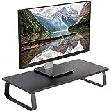 VIVO Black 24 inch Monitor Riser - Wood & Steel Desktop Stand, Screen, Keyboard, Laptop, Small TV Ergonomic Desk and Tabletop