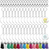 Acrylic Keychain Blanks, Audab 150pcs Clear Blank Keychains Kit Including Acrylic Blanks, Keychain Tassels, Keychain Clips, K
