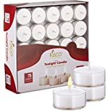 Kisco Genuine Tea Light Candles in Clear Holder Cups Bulk 75 Set. Long Burning 4.5hr, Unscented, for Mood, Dinners, Parities,
