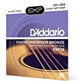 D'Addario EXP26 Coated Phosphor Bronze Acoustic Guitar Strings, Light, 11-52 – Offers a Warm, Bright and Well-Balanced Acoust