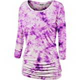 Lock and Love LL Womens 3/4 Sleeve Tie-Dye Ombre Dolman Top - Made in USA