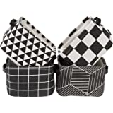 Sea Team Foldable Mini Square New Black and White Geometric Theme 100% Natural Linen & Cotton Fabric Storage Bins Storage Bas